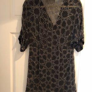 Beaded dress black, short sleeve